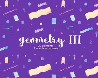 Geometric Clipart, Shapes Cliparts, Watercolour Shapes, Geometry Wrapping Paper, Geometry Clipart