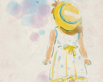 Pastel Girl Print Digital - Sweet Girl with Yellow Hat Print - Whispering to the Winds - A4 - Children Wall Art, Kids Wall Decor