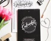 Perpetual calendar Black & White - Hand lettered calendar - Birthday calendar - Anniversary and family calendar