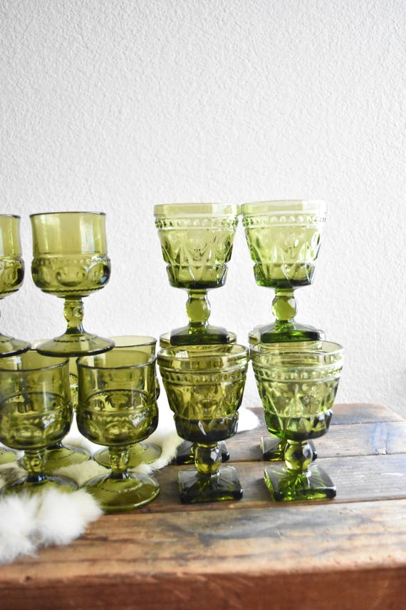 green glass champagne wine glass goblets / depression glass set