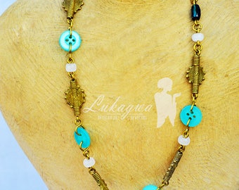 Dainty Button Afrocentric Necklace,Button African jewelry,Turquoise African Necklace
