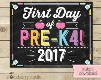Girl First Day of Pre K4 Sign - 1st Day of School Sign Printable - Photo Props - Pre-K 4 Chalkboard Sign - Instant Download