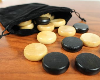 "Crokinole Pieces Standard 1-1/4"" wooden biscuits, Black/Natural, Paul Szewc, Crokinole Discs"