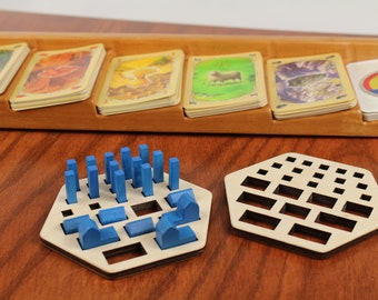 2 Catan Piece Holders, Card Game Organizer,  Catan Organizer, Kids Game Holder, Baltic Birch, Laser Engraved, Masterpiece Laser