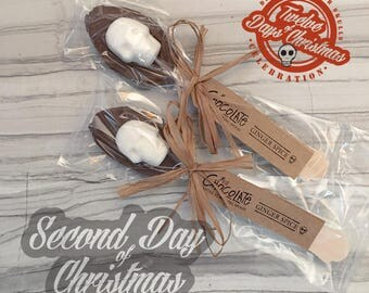 On the second day of Christmas - Two Chocolate Sugar Skull Spoons // DemBones // mini sugar skull // christmas gift// skull gifts