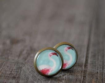 Clous d'oreilles - Flamonts roses - Flamingo earrings - Rose - Bleu - Été - Coco Matcha