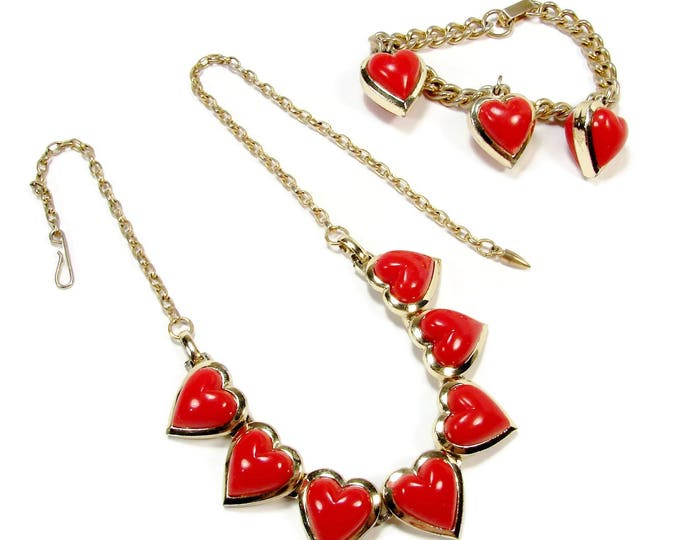 Vintage Red Heart Necklace & Charm Bracelet, Gold Tone, Thermoset Plastic, Valentines Day, Vintage Jewelry, Necklace Set