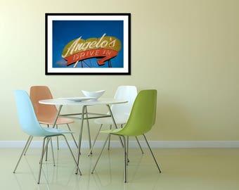 Angelo's Drive In Neon Sign Print | Fresno | Retro Kitchen Decor | Roadside America | Diner Decor | Retro Home Decor | Retro Roadside