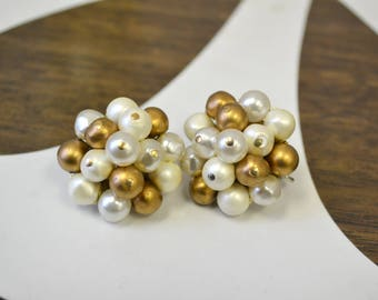 1950s Laguna Pearl Cluster Clip Earrings