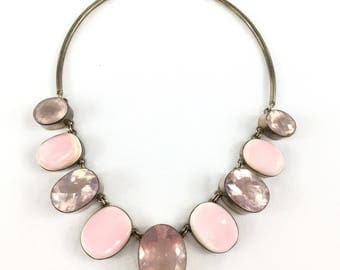 Pink Sterling Choker Statement Necklace Huge Jewelry