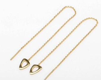 Oval Chain Earrings, Sterling Silver, Gold Plated, Charm Threader Earrings, Dangle Threaders, Minimalist, Lunaijewelry, Gift for her, CHE029