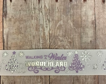 Lavender and White Christmas Ribbon, Grosgrain, Hairbows, 7/8 inch