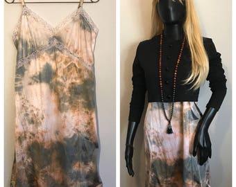 Hand dyed unworn vintage dead stock knee length Slip Dress in dusty rose/gray
