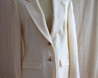 Vintage | Deadstock | Pendleton Wool Cream Blazer | 1980's | Size 8