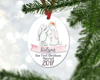 Personalized Just Married Christmas Ornament, Wedding Gift Ornament, Christmas 2017, Keepsake Ornament, Pink & Gray Bunnies Ornament (045)