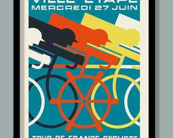 Art deco poster etsy - Deco tour de france ...