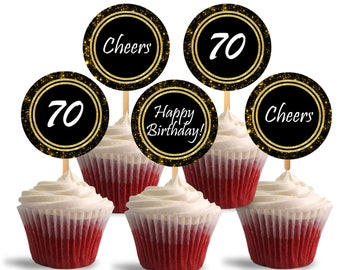 70th Birthday Cupcake Toppers, Cheers to Seventy Printable Cupcake Toppers, Favor Tags, 70th Theme Party Decorations - DP479