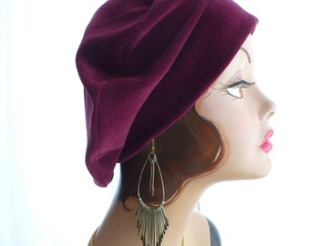 Raspberry Beret ~ Repurposed Velveteen