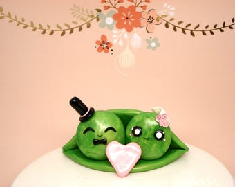 Two Peas in a Pod Wedding Cake Topper Romantic Wedding Decoration Wedding Cake Decor Personalized Wedding Gift