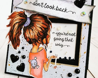 INSTANT DOWNLOAD Creepy Cute Girl Digital Stamp - Dread Head Image No.359 by Lizzy Love