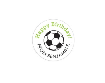 30 Circle Happy Birthday Soccer Ball Custom Personalized Stickers Sticker Label