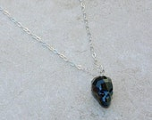 Luxe Cobalt Swarovski Crystal Skull Pendant on Sterling Silver Chain