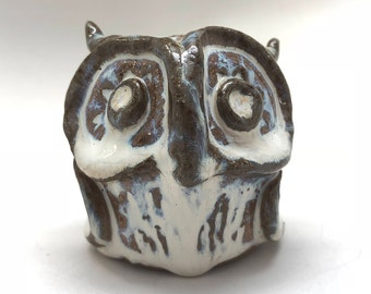 Handmade Owl Rattle in White