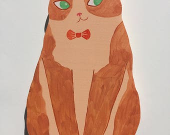 Brownie Cat withRed Bowtie