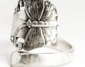Dainty Butterfly Ring, Sterling Silver Spoon Ring, Fultterby Ring, Insect Ring, Handmade Gift for Her, Ready to Ship, Custom Ring Size, 7020