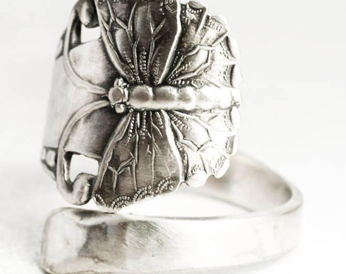 Butterfly Ring, Antique Swedish Sterling Silver Spoon Ring, Fultterby Ring, Insect Ring, Gift for Girl, Ready to Ship, Adjustable Size, 7020