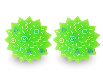 80'ss Green Earrings - Memphis Style Pattern Big Stud Post Colorful Sun Star Round Perspex Acrylic 90s 90's 80s Eighties Rad Vintage Retro