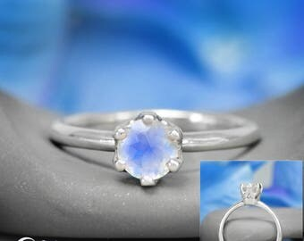 Rainbow Moonstone Crown Engagement Ring, Moonstone Solitaire Gemstone Ring, Unique Colorful Engagement Ring, Diamond Alternative Bridal Ring