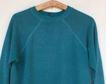 Vintage 70s / 80s Very Worn In Teal  Sweatshirt M