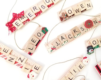 Name Ornament with Scrabble Tiles - Harper, Makenzie, Emerson, Leo, Owen, Jackson - Gift under 10 - Gift for Children - Teacher Gift
