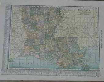 Louisiana State Vintage Map Print