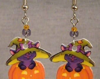 Halloween Kitty Cat Dangle Earrings - Witch Hat Cat Jewelry - Jack O Lantern  jewellery