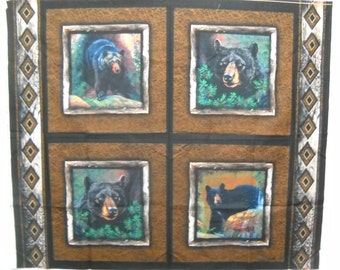Blackfoot Canyon Bear Pillow Panel Fabric By Wild Wings Black Bear Quilt Fabric FREE SHIPPING