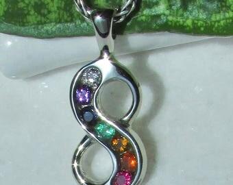 14k Gold Rainbow Pendant, 14k Solid Gold Infinity Pendant, Chakra Necklace, Diamond, Amethyst, Sapphire, Emerald, Citrine, Fire Opal, Ruby