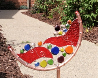 Stained glass and copper abstract Crescent garden art stake one of a kind patio yard art
