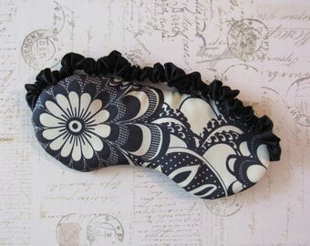 Silk Sleep Mask in Black & White // Retro Floral Eye Mask