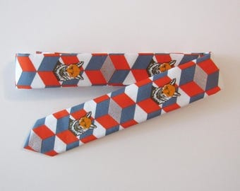 Foxes in Boxes Skinny Tie in Red // Cotton Necktie, Animal, Metallic