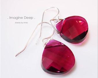 Sterling Silver Red Crystal Earrings Ruby Pomegranate Raspberry Red Swarovski Crystal Briolette Teardrop Pear Dangle Earrings % SPECIAL