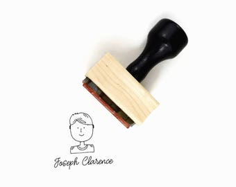 Custom Avatar + Name Stamp - Boy / Man Face Illustration Portrait - Wood Mounted Rubber Stamp - Stamps for Mommas and Makers