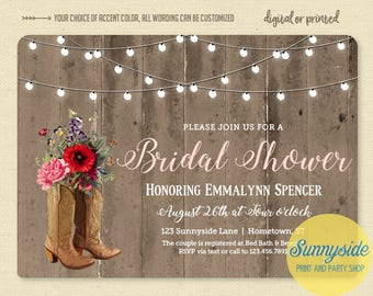 Country bridal shower invitation with cowgirl boots and wildflowers, printable couples wedding shower invite, rustic western twinkle lights