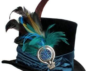 Tall Black Top Hat Teal Appeal Steampunk Vaudeville Victorian Gentlemens Cosplay Mens