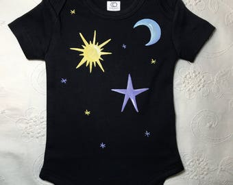 Sun, moon, and stars Baby organic clothes/Baby Bodysuit /baby shower/ gender neutral baby