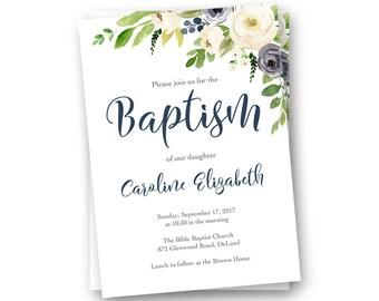 Girl Baptism Invitation, Girl Baptism Invite, Girl Christening Invitation, Girl Baptism Invitation Printable