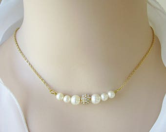 Bridal Neckalce, Bridesmaid Necklace, Swarovski Pearl Necklace, Rhinestone Necklace, Mother of the Bride Gift, Mother of the Groom Gift
