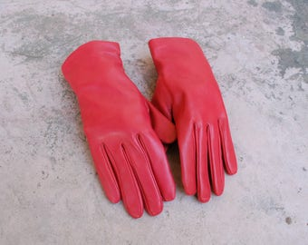 Womens Size 8 Medium Large Liz Claiborne Red Leather Driving Gloves Leather Wool Warm Gloves Boho Moto Gloves Biker Classic Driving Gloves