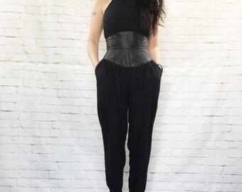 Vintage 90s Black Leather Wide Waist Baggy Tapered Pants Halter Jumpsuit S Pockets Hip Hop Goth Dominatrix Collar Fetish Festival Fashion